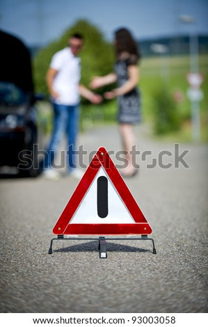 Following a breakdown warning triangle
