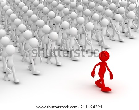 following the leader - stock photo