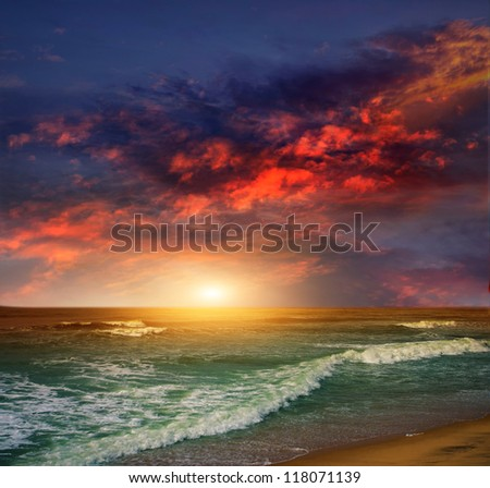 Folly Beach Ocean Sunset Landscape seascape scene in the Indian Ocean - stock photo