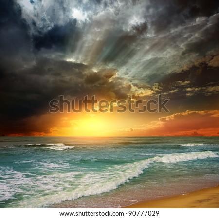 Folly Beach Ocean Sunset Landscape seascape scene in the Indian Ocean - stock photo