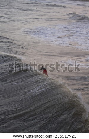 Folly Beach, South Carolina, USA - October 25, 2012: A surfer rides a choppy wave coming from Hurricane Sandy on October 25, 2012 in Folly Beach, South Carolina