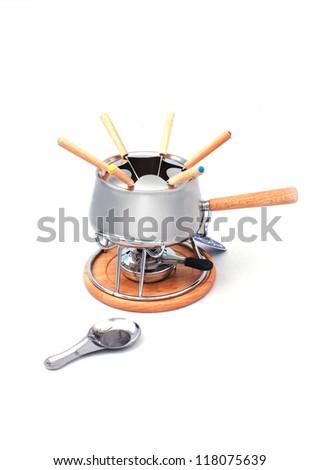 Fondue pot isolated on wjite - stock photo