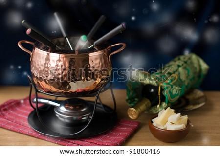 fondue set - stock photo