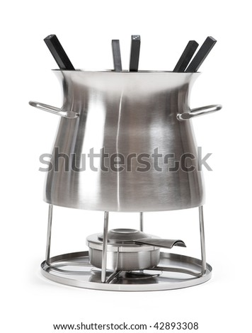 Fondue set for six, isolated. Clipping path
