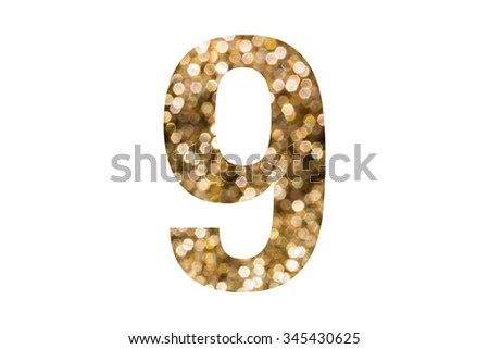 FONT AND NUMBER PATTERN IN BEAUTIFUL LUXURY BOKEH LIGHT STYLE WITH GOLDEN AND YELLOW COUR TONE