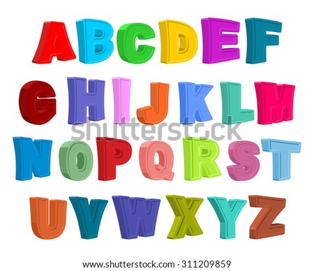Font children. Colorful alphabet. Letters in child style. Cartoon ABC.   - stock photo