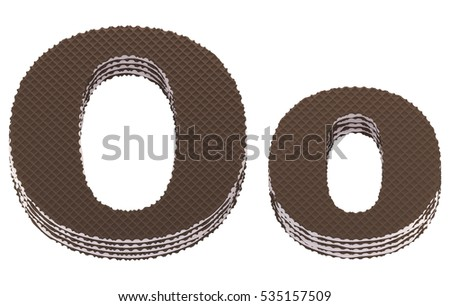 Font. Chocolate wafers with cream filling. 3d rendering