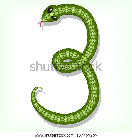 Font made from green snake. Digit 3. Raster version. Vector is also available in my gallery - stock photo