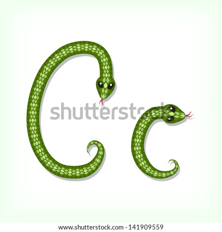 Font made from green snake. Letter C. Raster version. Vector is also available in my gallery