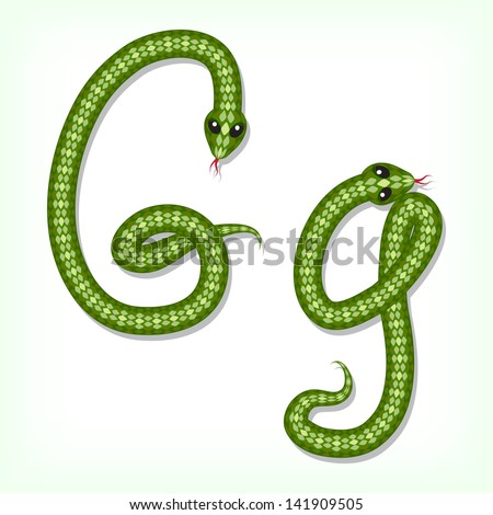 Font made from green snake. Letter G. Raster version. Vector is also available in my gallery - stock photo