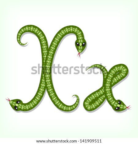 Font made from green snake. Letter X. Raster version. Vector is also available in my gallery - stock photo