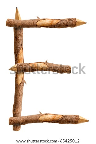 Font of wooden pencils on white background