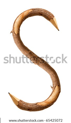 Font of wooden pencils on white background - stock photo