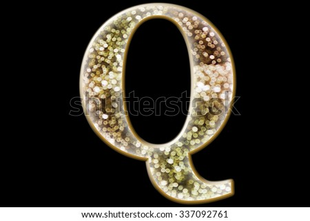 FONT or LETTER and colourful design of wonderful bokeh style ALPHABET Q  in gradient overlay bright and glow tone