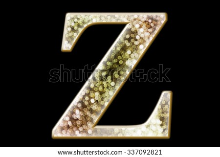 FONT or LETTER and colourful design of wonderful bokeh style ALPHABET Z in gradient overlay bright and glow tone - stock photo