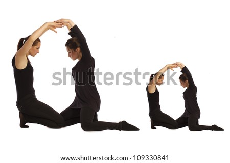 Font Q formed by humans bodies - stock photo