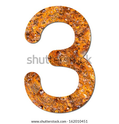 Font rusty steel texture numeric three 3 with shadow and path