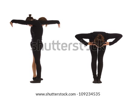 Font T formed by humans bodies - stock photo