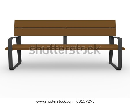 Font view of a wooden bench. 3d Illustration - stock photo