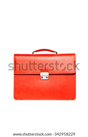 Font view of red men briefcase isolated over white - stock photo