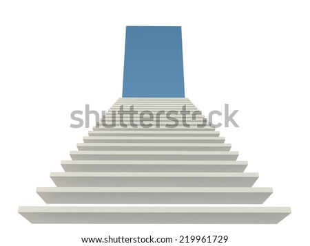 font view white staircase  to the top - stock photo