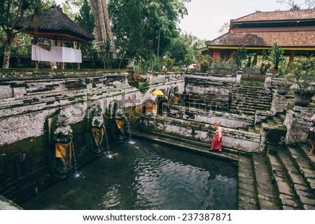 Fontain at Temple Goa Gajah, Ubud, Bali, Indonesia  - stock photo