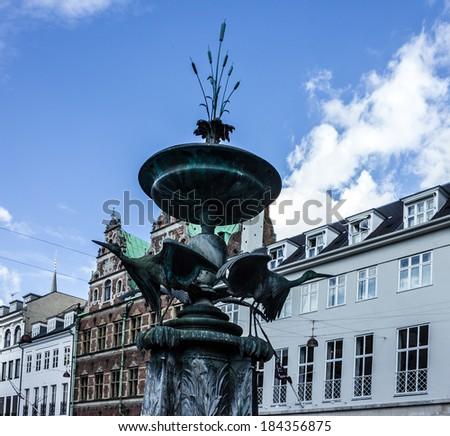 Fontaine of cranes, Copenhagen, Denmark - stock photo