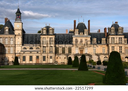 Fontainebleau castle in France. Chateau is inscribed to UNESCO world heritage list. - stock photo