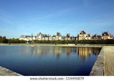 Fontainebleau, France, the castle view from the garden - stock photo