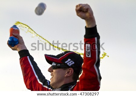Fontana, CA - FEB 20, 2010:  Kyle Busch wins the Stater Bros 300 race at the Auto Club Speedway in Fontana ,CA on Feb 20, 2010 - stock photo