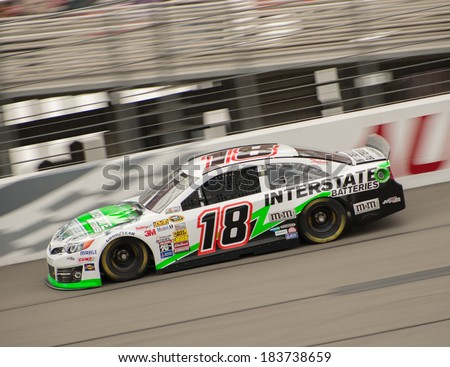 FONTANA, CA - MAR 22: Kyle Busch  at the Nascar Sprint Cup practice at Auto Club Speedway in Fontana, CA on March 22, 2014 - stock photo