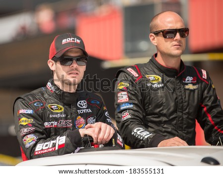 FONTANA, CA - MAR 23: Ryan Truex (left) and Josh Wise at the Nascar Sprint Cup Auto Club 400 race at Auto Club Speedway in Fontana, CA on March 23, 2014