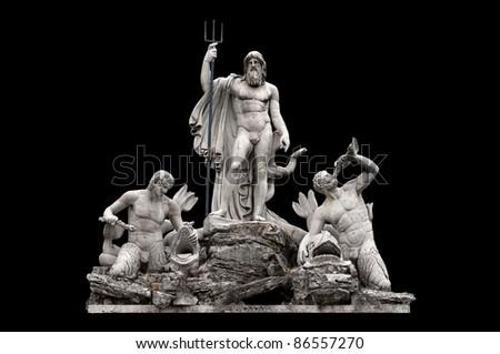 Fontana del Nettuno by Giovanni Ceccarini in Piazza del Popolo, Rome Italy - stock photo