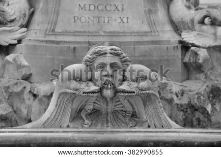 Fontana del Pantheon at the square Rotonda in Rome, Italy. Black and white picture