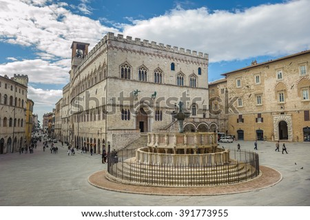 Fontana Maggiore on Piazza IV Novembre in Perugia, Umbria, Italy - stock photo