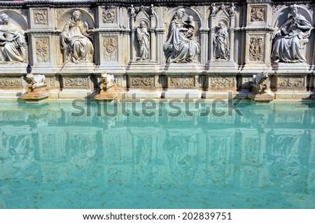 fonte gaia, Piazza del Campo, Siena, Tuscany, Italy - stock photo