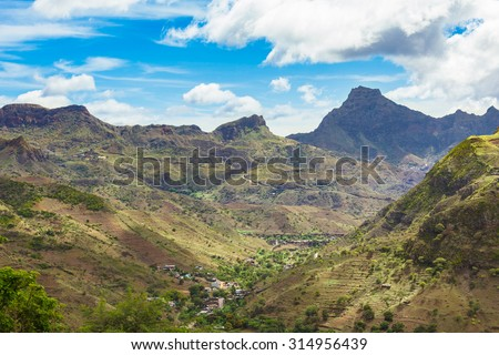 Fonte Lima mountains in Santiago Island Cape Verde - Cabo Verde - stock photo