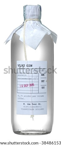 FONTE, VENICE, ITALY - JANUARY 2016: Gin VL92 100cl, alc.41,7%. Gin is a spirit which derives its predominant flavour from juniper berries.