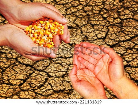 Food aid concept, help, hungry people - stock photo