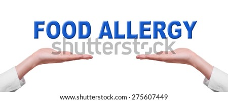 Food Allergy words in male hands isolated on white background,
