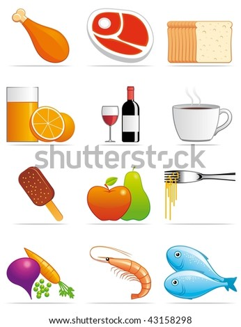 Food and beverages icons - stock photo