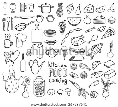 Food and cooking icons vector collection - stock photo