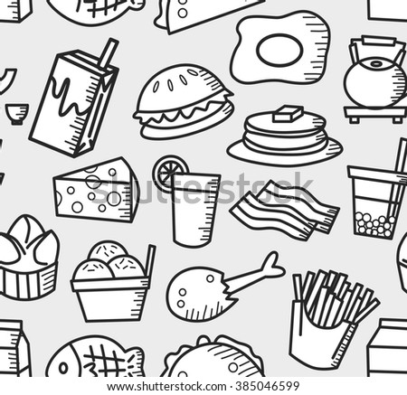 food and drink background doodle