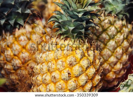 Food and drink concept - pineapples. - stock photo