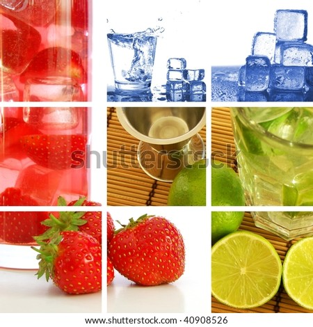 food and drink concept with collage or collection - stock photo