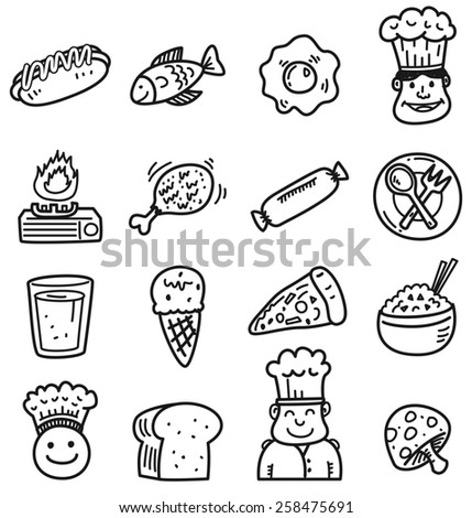 food and drink doodle icon - stock photo