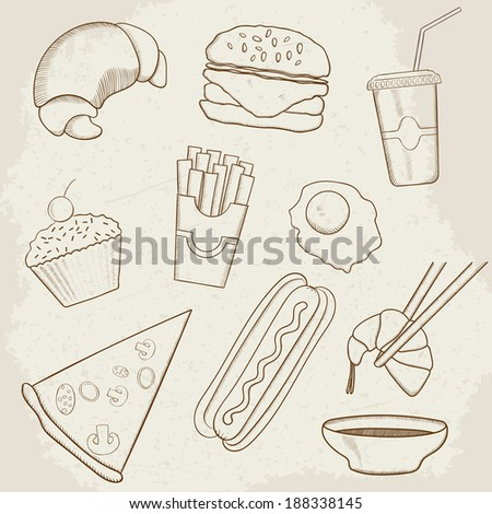 Food and Drink Hand Drawn Icons. Raster version