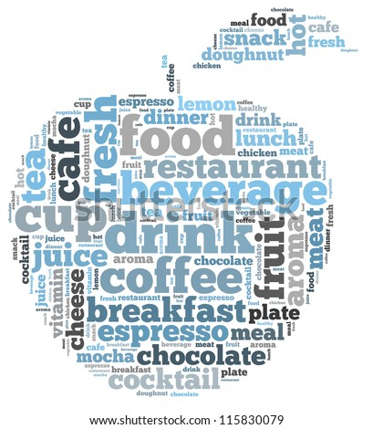 Food and drink info-text graphics and arrangement concept on white background (word cloud) - stock photo
