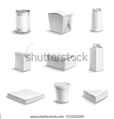 Food and drink plastic and cardboard package blank white objects set isolated  illustration - stock photo