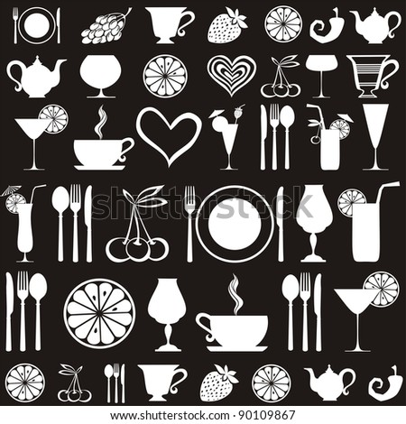 Food and drink seamless pattern.  illustration